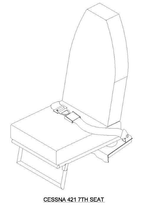 Provides an extra seat for Cessna 421 aircraft that are not equipped with seat track on the aft shelf.