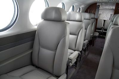 Our attractive Airline Style, High Density commuter seats allow you to get the maximum seating capacity in any King Air (contact us for your specific floor plan options).  We are not aware of a single structural failure of an AvFab Econo Seat. That's espec