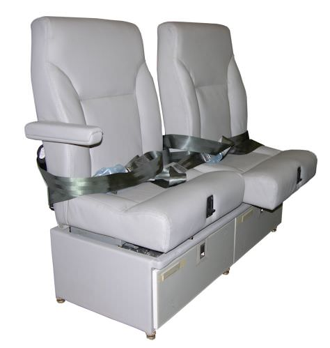 AvFab's Two Place Lateral Tracking Divan is ideal for medical attendant use as it allows caregivers to adjust seat for closer access to patient while remaining in the restraint system. Can be occupied by 2 passengers during all phases of flight, including