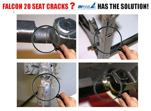 "AvFab Seat Repair was designed to provide an FAA Approved repair to the Falcon seat structure making it ""stronger than new"". Many of the original brazed seat frames are cracked and even broken, and this repair substantially saves time and money when compar"