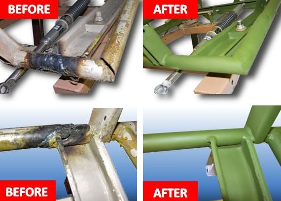 AvFab Seat Repair was designed to provide an FAA Approved repair to the seat structure making it �stronger than new�. Many of the original seat frames are cracked and even broken, and this repair substantially saves time and money when compared to ordering a replacement base or seat from the factory. The repair is done at the AvFab facility, and great care is taken to preserve the chair foam and covering so they can be reinstalled after the repairs have been accomplished, if necessary.