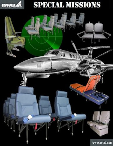 AvFab offers an extensive line of Special Missions equipment including seats, stretchers, attendant seats, toilets and more for the entire line of Beechcraft King Air's.