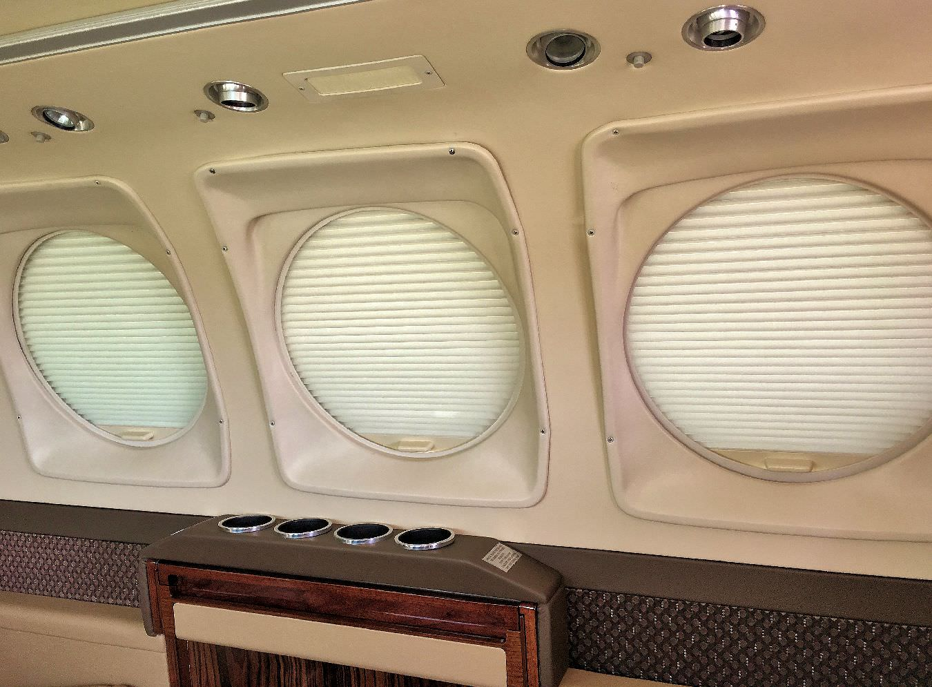 Update your King Air 200 to the contemporary look and functionality of AvFab pleated window shades (blinds) to replace the Polarizers.  They give your King Air 200 the contemporary look the jets have.