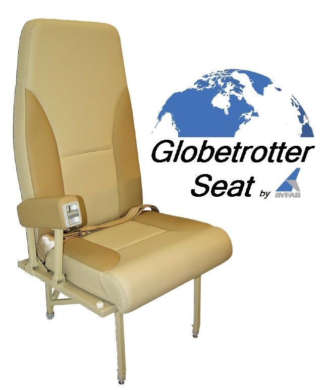 This Globetrotter GT Seat features no outboard armrest for King Airs that already have the side wall arm ledge. The Globetrotter GT is designed for maximum high density VIP executive passenger commuter comfort and durability. It's lightweight airline style