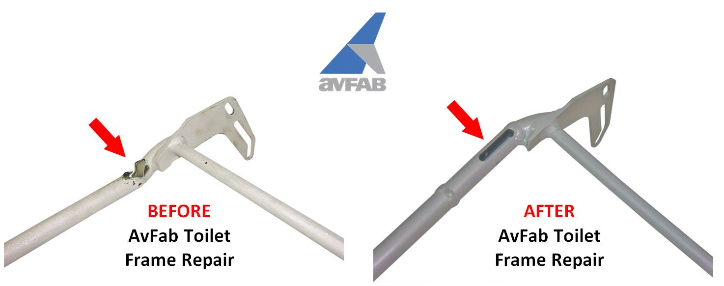 OEM toilet frame tubing develops cracks and fatigues near hinge brace.  AvFab's FAA approved frame repair reinforces the frames to make them stronger than new.