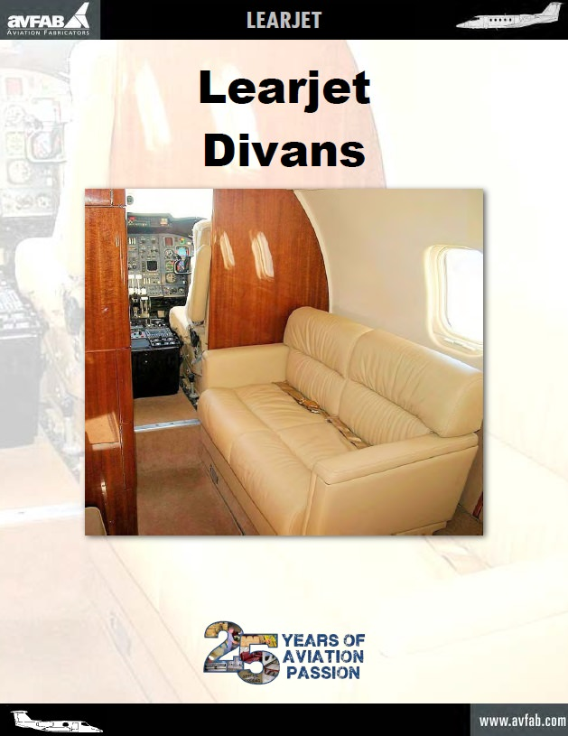 Perfect for Learjet operators adding passengers. Gives the cabin a larger more open look. Each divan is available in various lengths for a custom fit in any aircraft.