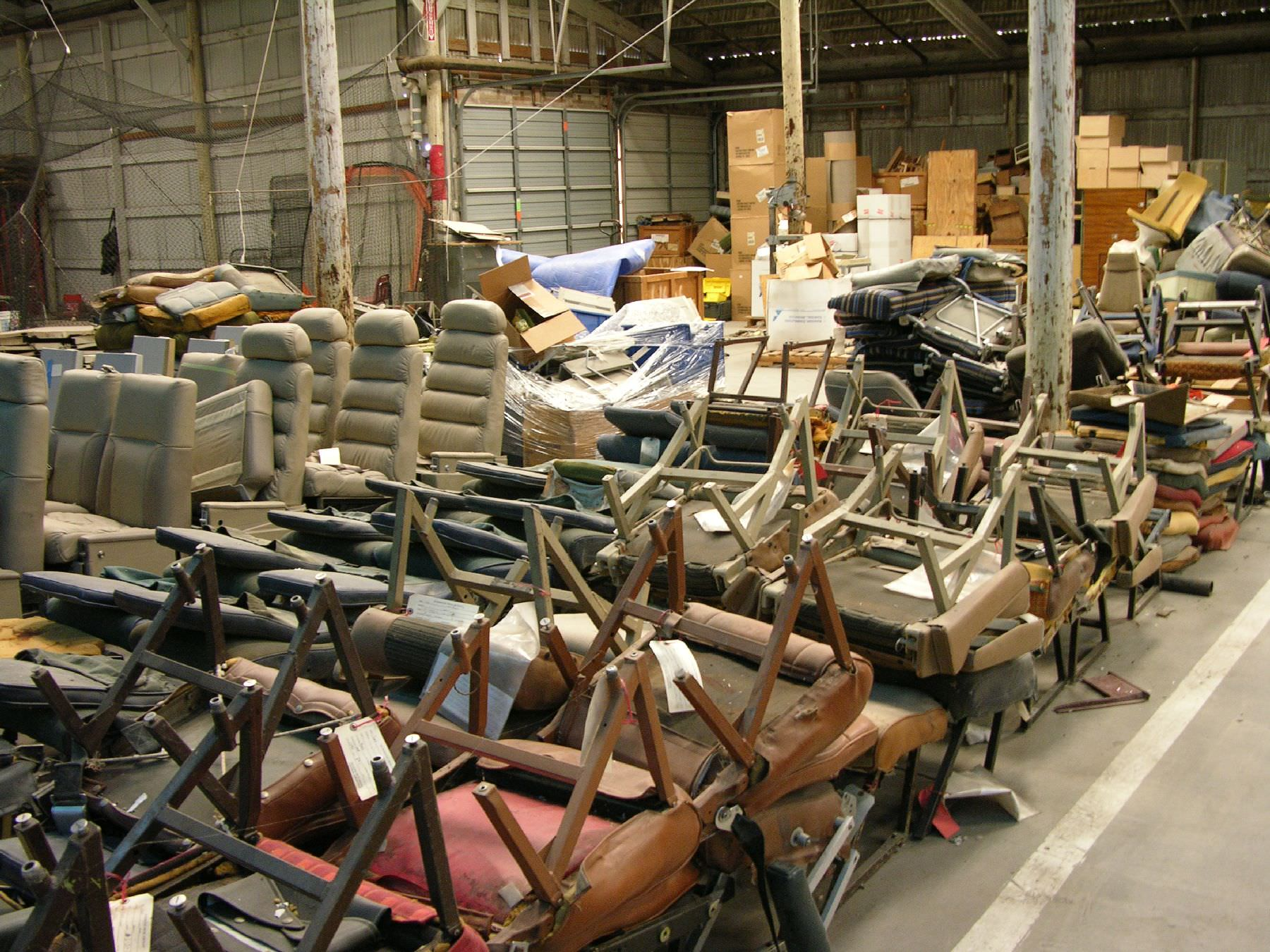 AvFab has the world's largest inventory of cabin class interior parts, over 90,000 sq. ft!  This inventory includes seats, divans, couches, cabinetry, furniture, partitions, galleys, chart holders, coffee makers, heated liquid containers, ice bins, and so