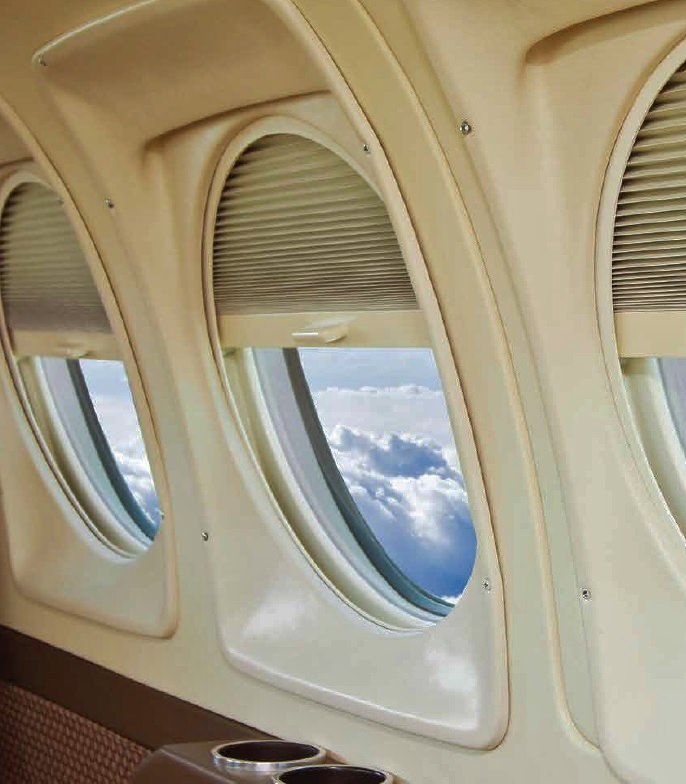 "Update your King Air 90 & 200 with AvFab STC approved ""Regal"" Pleated Window Shades and replace the OEM Polarizers.  The factory Polarizers must be left in the open (clear) position on the ramp which allows full sunlight into the cabin.  AvFa"